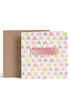 Elephant Baby Girl Card