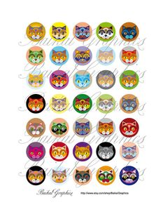 Cats colorful Circles Digital Collage Sheet 1 от BaikalGraphics