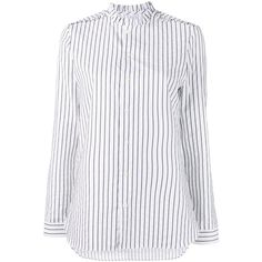 Marie Marot 'Diana' striped blouse ($247) ❤ liked on Polyvore featuring tops, blouses, white, long sleeve tops, cotton blouse, ruffle neck blouse, white cotton tops and white top