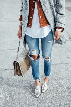Silver loafers with ripped jeans