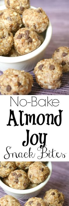Love Almond Joy candy bars? You've gotta try these quick no-bake Snack Bites! Nuts, flax and oats for sustained energy. Easy, freezable and nutritious!