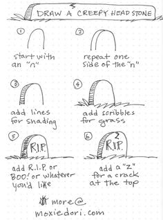 Drawing Doodle Just us in 31 days of how to doodles. Day 13 is a gravestone or headstone doodle. Come on over and check out all of the October doodles! Planner Doodles, Bujo Doodles, Halloween Doodle, Halloween Drawings, Halloween Cards, Calligraphy Doodles, Chinese Calligraphy, Desenhos Halloween, Easy Doodles Drawings