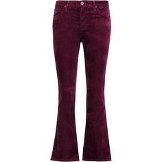 Ag Jeans Cropped velvet mid-rise bootcut pants (€105) ❤ liked on Polyvore featuring pants, capris, burgundy, boot cut pants, mid rise pants, purple pants, bootcut trousers and burgundy pants
