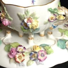 Meissen 19c Flower Encrusted Porcelain Handle Tea Cup and Saucer Exceptional