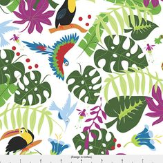 Tropical Fabric - Two Geckos In The Rainforest White By Colour Angel By Kv- Toucans Tropical Bird Cotton Fabric By The Metre by Spoonflower Double Gauze Fabric, Cotton Twill Fabric, Fleece Fabric, Satin Fabric, Cotton Canvas, Tropical Fabric, Tropical Birds, Geckos, Fabric Swatches