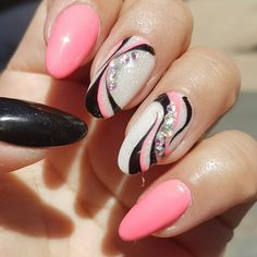 Pink/ black/ white nail art with rhinestones