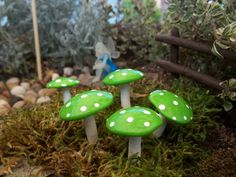 Free Shipping 5 miniature mushroom  fairy by fairysmallthings, $6.79