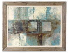 Oil Reproduction with 3-D effect in shades of muted grey and slate blue