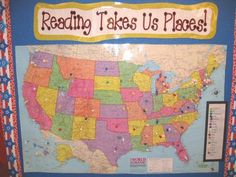 Reading Map. Have the children put pins where they have been in their stories. I love this! Its a way for them to travel around the world via reading!!! :)