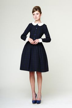50s Dress, 50s Woolen Dress, 1950 Full Skirt Dress, Navy Dress, Plaid Dress, Plus Size Dress, XS M L XL 1X by Mrs Pomeranz