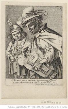 Un mendiant jouant de la vielle est accompagné d'un enfant jouant de la flûte et du tambourin. Collection Michel Hennin, 1630. Conservé à la BNF.