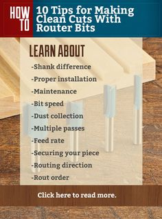 10 Tips for Making Clean Cuts with Router Bits  #routerbits #routers #how-to #woodworking