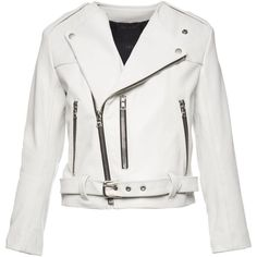 Marc Jacobs Cropped Leather Moto Jacket (3,620 BAM) ❤ liked on Polyvore featuring outerwear, jackets, leather biker jacket, real leather jacket, cropped moto jacket, motorcycle jacket and white motorcycle jacket