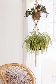 I am such an old hippie! Love the macrame plant hangers!  Saffron Macrame Planter - Urban Outfitters