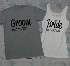 Bride and Groom couples shirts. Honeymoon shirts. Just Married shirts. Couples shirts with wedding date. Mr and Mrs shirts. by BrideAndEntourage on Etsy https://www.etsy.com/listing/220847994/bride-and-groom-couples-shirts-honeymoon