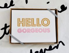Snap up this set of note cards and let people know how beautiful they truly are! This simple typographic note card has large decorative type...