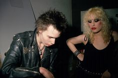View of British musician Sid Vicious and his American manager Nancy Spungen at CBGBs nightclub New York New York September 1978