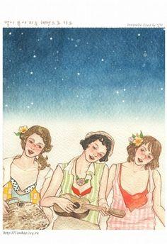 three ukulele sisters under the night sky stars and moon