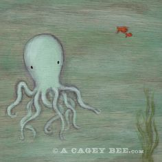 Octopus art print - 8x8 square print of octopus by cageycritters, $18.00. Great nursery art and prints for kids rooms!
