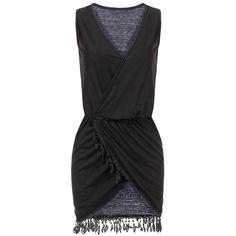 Yoins Black V Neck Sleeveless Tassel Wrap Dress-Black  S/M/L (260 UAH) ❤ liked on Polyvore featuring dresses, black, wrap dress, v neck wrap dress, black v neck dress, vintage wrap dress and vintage summer dresses