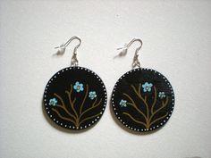 Blue Flower wood earrings by veropaints on Etsy, $8.00
