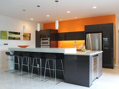 Kitchen: Orange Wall Color Ideas With Black Island And Metalic ...