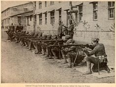 Military Life - World War I, WWI {} African-American Soldiers {} Colored Troops from the United States at rifle practice behind the lines in France.