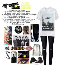 """""""Day 1 Meeting the boys."""" by xxghostlygracexx ❤ liked on Polyvore featuring Converse, Aime, Lime Crime and Deathwish"""