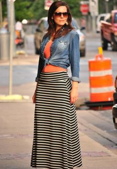 Maxi skirt looks for spring.
