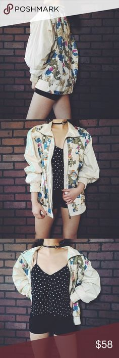 Oversized Vintage Bomber Oversized Vintage Bomber. I have wayy too many statement jackets that I just have to let this one go  such a stunning piece that would look amazing with some black shorts, ankle boots and large hoops! Would fit M/L best! #jacket #bomberjacket #statementjacket Model is an XS/S. Free People Jackets & Coats