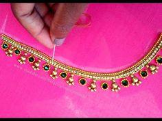 #7 మామూలు సూది తో ఎంబ్రాయిడరీ అందమైన బ్రైడల్ బ్లౌజ్    Aari Maggam Work Blouse Design - YouTube