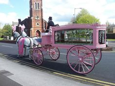 """It's pink, mama."" Horse-drawn Funeral Carriage Birmingham Midlands"
