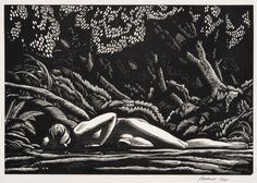 Forest Pool, 1927.Rockwell Kent. Wood engraving