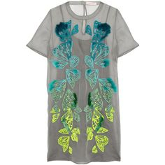 Matthew Williamson Embroidered silk-organza mini dress (€615) ❤ liked on Polyvore featuring dresses, light gray, fitted dresses, slip dress, loose fitted dresses, keyhole dress and light gray dress