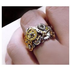 Steampunk ring, stainless steel unisex steampunk ring, watch gear... via Polyvore featuring jewelry, rings, steampunk, stainless steel jewelry, antique silver rings, steampunk ring, antique yellow gold rings and gold jewelry