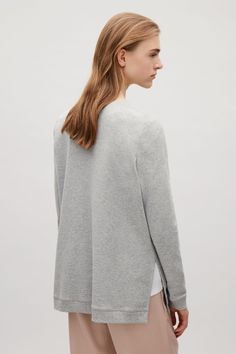 COS image 3 of Sweatshirt with rib shoulders in Grey