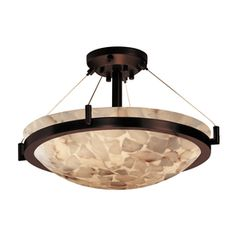 Cascadia Lighting Alabaster Rocks 20.5-In W Dark Bronze Alabaster Glass Semi-Flush Mount Light Alr-9681-35-Dbrz
