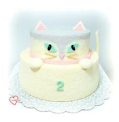 Loving Creations for You: 3D Cat 2-Tier Lemon Chiffon Cake (Reduced Egg yolk...
