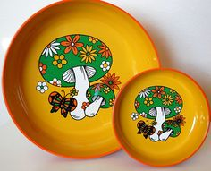 Vintage Retro Mushroom Bowl Set 1970s FLAIR by SprinklesInTime, $25.00