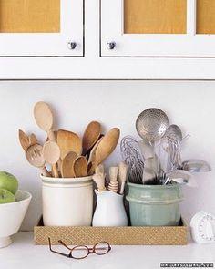Martha's Top Kitchen Organizing Tips Golden Rules of Kitchen Organization Kitchen Items, Kitchen Utensils, Kitchen Gadgets, New Kitchen, Kitchen Decor, Cooking Utensils, Kitchen Styling, Kitchen Cabinets, Kitchen Tools