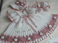Crochet Christening Gown Set