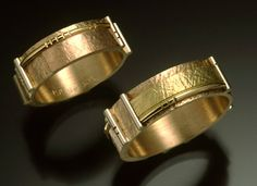 Contemporary #1: Sculpture multi-colored rings 5mm 18k/14k gold.
