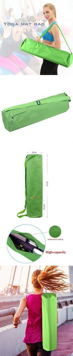 Hepburn's Yoga Mat Bag Carrier Canvas Solid Color with Pocket and Zipper,Green #yogamatbags