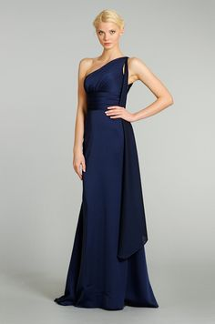 Lazaro bridesmaid Beautiful dress. Beautiful color.Add different shades of blue in a bouquet or even hot pink and you have a stunning bridesmaid look www.finditforweddings