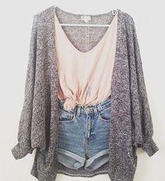 Baggy Cardigan peach tank top high waisted jean shorts summer fall cute outfit