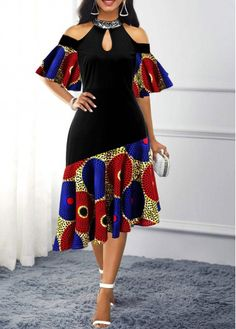African Fashion Tribal Print Asymmetric Hem Cold Shoulder Dress Source by fashionrotita dress for church African Dresses For Kids, Latest African Fashion Dresses, African Dresses For Women, African Print Fashion, Africa Fashion, African Print Dresses, African Attire, African Dress Designs, Modern African Fashion