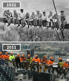 Before & After Pics Showing How The World Has Changed Over Time By Re.Photos - Beauty of Planet Earth Then And Now Pictures, Before And After Pictures, Cool Pictures, Tour Eiffel, Lunch Atop A Skyscraper, Saint Mathieu, Photo Voyage, Paris Wallpaper, Mont Saint Michel