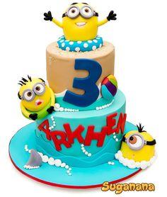 Minion pool party cake by Suganana