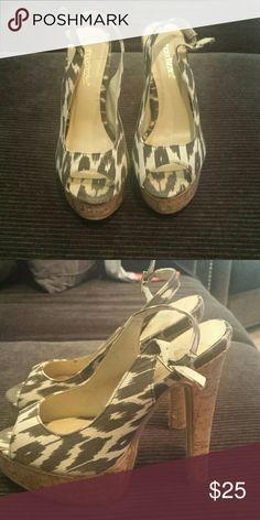 Animal patterned slingback peep toe heels Gorgeous detailed patterned heels. Slingback with peep toe and unique cork styled heels Shoe Dazzle Shoes Heels