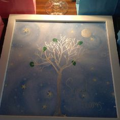 Baby shower guest book. Use scrapbook paper, a silver sharpie and have guests leave leaf fingerprints on tree.